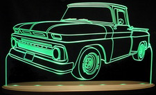 1965 Chevy C10 Pickup Truck Acrylic Lighted Edge Lit LED Sign / Light Up Plaque Full Size USA Original