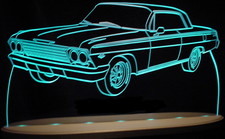1962 Chevy Impala Acrylic Lighted Edge Lit LED Sign / Light Up Plaque Full Size USA Original