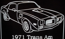 1971 Pontiac Firebird Trans AM Acrylic Lighted Edge Lit LED Car Sign / Light Up Plaque