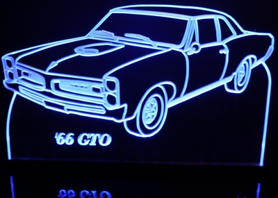 1966 Pontiac GTO Acrylic Lighted Edge Lit LED Car Sign / Light Up Plaque 66