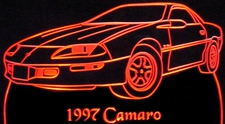 1997 Chevrolet / Camaro Acrylic Lighted Edge Lit LED Car Sign / Light Up Plaque Chevy Full Size USA Original