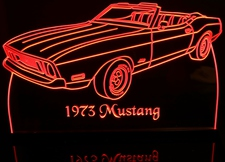 1973 Mustang Convertible Acrylic Lighted Edge Lit LED Sign / Light Up Plaque Full Size Made in USA