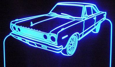 1967 Plymouth Belvedere Acrylic Lighted Edge Lit LED Sign / Light Up Plaque Full Size USA Original