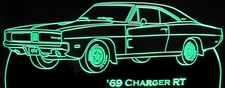 1969 Charger RT Acrylic Lighted Edge Lit LED Sign / Light Up Plaque Full Size USA Original