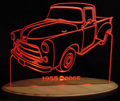 1955 Dodge Pickup Truck No Spare Acrylic Lighted Edge Lit LED Sign / Light Up Plaque Full Size USA Original