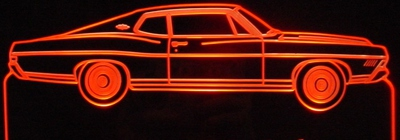 1968 Ford Fastback XL Acrylic Lighted Edge Lit LED Car Sign / Light Up Plaque Full Size USA Original
