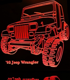 1992 Jeep Wrangler Acrylic Lighted Edge Lit LED SUV Truck Sign / Light Up Plaque Full Size USA Original