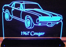 1967 Mercury Cougar Acrylic Lighted Edge Lit LED Car Sign / Light Up Plaque