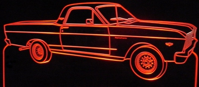 1966 Ranchero Acrylic Lighted Edge Lit LED Car Pickup Sign / Light Up Plaque