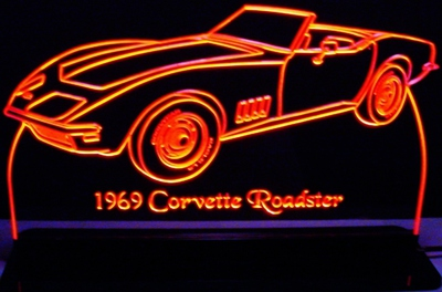 1969 Corvette Roadster Acrylic Lighted Edge Lit LED Car Sign / Light Up Plaque