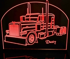 Semi Peterbilt (add your own text) Truck Acrylic Lighted Edge Lit LED Sign / Light Up Plaque Full Size Made in USA
