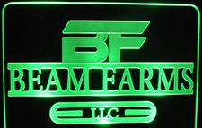Beam Farms SAMPLE ONLY Advertising Business Logo Acrylic Lighted Edge Lit LED Sign / Light Up Plaque USA Original
