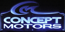 Concept Motors Office Advertising Business Logo Acrylic Lighted Edge Lit LED Sign / Light Up Plaque
