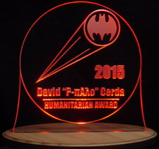 Humanitarian Award Trophy SAMPLE ONLY Advertising Company Logo Acrylic Lighted Edge Lit LED Sign / Light Up Plaque