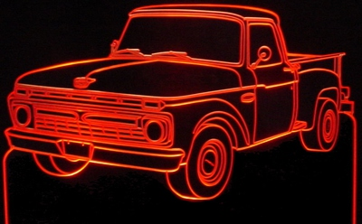1966 F100 LH Pickup Truck Acrylic Lighted Edge Lit LED Sign / Light Up Plaque