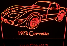 1978 Chevy Corvette Chevrolet Acrylic Lighted Edge Lit LED Car Sign / Light Up Plaque