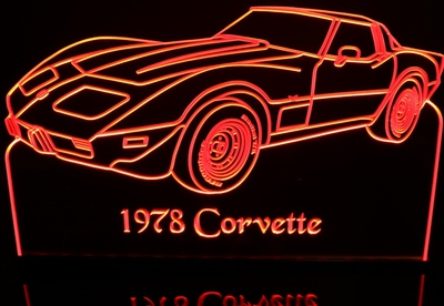 1978 Corvette Acrylic Lighted Edge Lit LED Sign / Light Up Plaque Full Size Made in USA