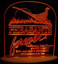 Pheasant Acrylic Lighted Edge Lit LED Sign / Light Up Plaque
