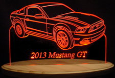 2013 Mustang GT RH Acrylic Lighted Edge Lit LED Sign / Light Up Plaque Full Size Made in USA
