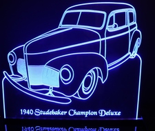 1940 Studebaker Champion Deluxe Acrylic Lighted Edge Lit LED Sign / Light Up Plaque Full Size Made in USA