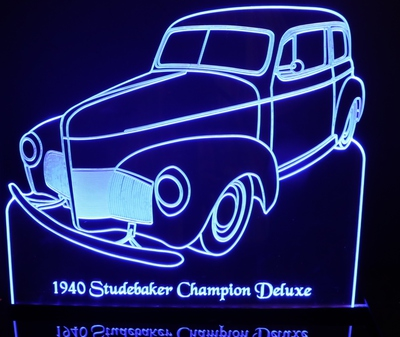 1940 Studebaker Champion Deluxe Acrylic Lighted Edge Lit LED Car Sign / Light Up Plaque