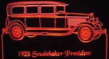 1928 Studebaker President Acrylic Lighted Edge Lit LED Car Sign / Light Up Plaque