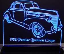 1938 Pontiac Business Coupe Acrylic Lighted Edge Lit LED Car Sign / Light Up Plaque