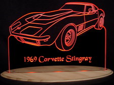 1969 Corvette Stingray Acrylic Lighted Edge Lit LED Car Sign / Light Up Plaque