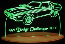1971 Dodge Challenger R/T Acrylic Lighted Edge Lit LED Car Sign / Light Up Plaque