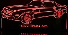 1977 Trans Am TTops Acrylic Lighted Edge Lit LED Car Sign / Light Up Plaque