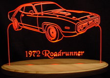 1972 Roadrunner Acrylic Lighted Edge Lit LED Car Sign / Light Up Plaque