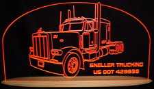 1998 Semi Peterbilt Acrylic Lighted Edge Lit LED Truck Sign / Light Up Plaque Full Size USA Original