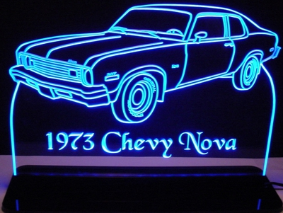 1973 Chevy Nova Chevrolet (not SS) Acrylic Lighted Edge Lit LED Car Sign / Light Up Plaque