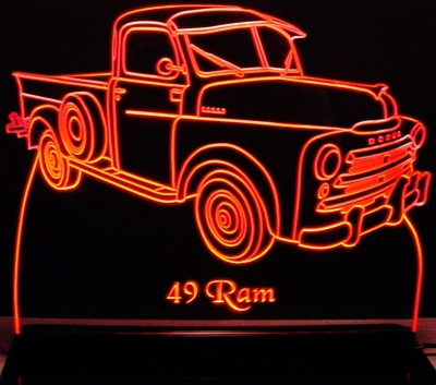 1949 Dodge Ram Pickup Truck Acrylic Lighted Edge Lit LED Sign / Light Up Plaque Full Size Made in USA