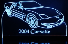 2004 Corvette Convertible Acrylic Lighted Edge Lit LED Sign / Light Up Plaque Full Size Made in USA