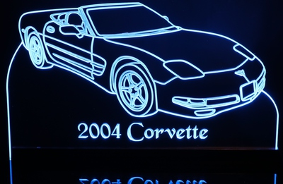 2004 Corvette Convertible Acrylic Lighted Edge Lit LED Car Sign / Light Up Plaque