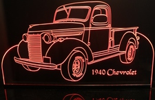 1940 Chevy Pickup Truck Acrylic Lighted Edge Lit LED Sign / Light Up Plaque Full Size Made in USA