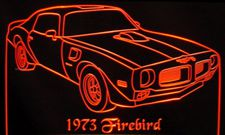 1973 Pontiac Firebird Acrylic Lighted Edge Lit LED Car Sign / Light Up Plaque