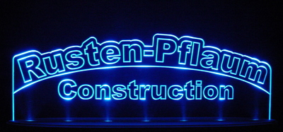 "Rusten Advertising Business Logo 21"" Large Acrylic Lighted Edge Lit LED Sign / Light Up Plaque"