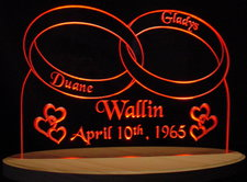 Rings Wedding Anniversary Table Centerpiece Acrylic Lighted Edge Lit LED Sign / Light Up Plaque