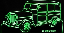 1952 Jeep Willys Wagon Acrylic Lighted Edge Lit LED Sign / Light Up Plaque Full Size USA Original