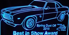 Spring Dust Off Best In Show Trophy Award SAMPLE ONLY Acrylic Lighted Edge Lit LED Sign / Light Up Plaque Full Size USA Original