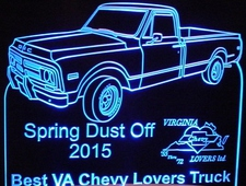 Spring Dust Off Best VA Chevy Lovers Truck Trophy Award Acrylic Lighted Edge Lit LED Sign / Light Up Plaque Full Size USA Original