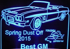 Spring Dust Off Best GM Trophy Award Acrylic Lighted Edge Lit LED Sign / Light Up Plaque Full Size USA Original
