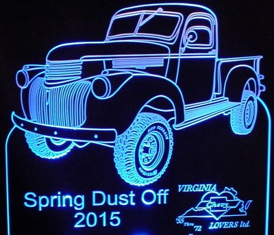 Spring Dust Off Best Truck Trophy Award Acrylic Lighted Edge Lit LED Sign / Light Up Plaque Full Size USA Original