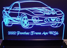 2002 Trans Am Collectors Edition Acrylic Lighted Edge Lit LED Sign / Light Up Plaque Full Size Made in USA