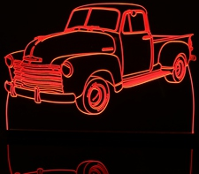 1953 Chevy Pickup Truck no visors Acrylic Lighted Edge Lit LED Sign / Light Up Plaque Full Size Made in USA