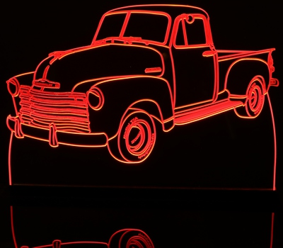 1953 Chevy Pickup Truck no visors Acrylic Lighted Edge Lit LED Sign / Light Up Plaque Chevrolet Full Size USA Original