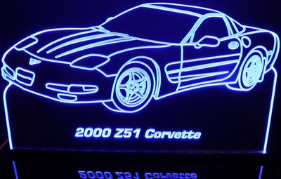 2000 Corvette Z51 Acrylic Lighted Edge Lit LED Sign / Light Up Plaque Full Size Made in USA