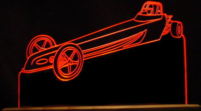 Jr Dragster Trophy Award (add your text) Acrylic Lighted Edge Lit LED Sign / Light Up Plaque Full Size Made in USA